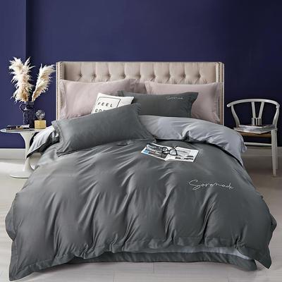 2020新款60S长绒棉素色双拼绣花四件套 1.5m床单款四件套 优雅如梦