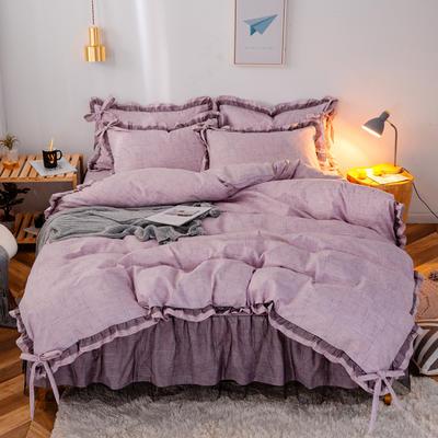2020新款蕾丝床裙款四件套 1.5m床裙款四件套 波尔蒂紫
