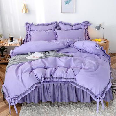 2020新款蕾丝床裙款四件套 1.5m床裙款四件套 星河谧紫