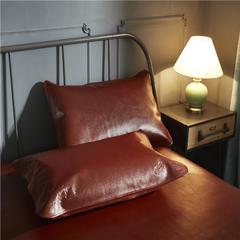 2019新款红棕色水牛皮软席单枕套 48cmX74cm 红棕色