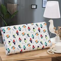 2019新款针织棉小卡通乳胶枕系列27*44/6*6cm 工程车含内衬