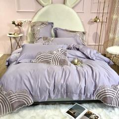 2019新款欧德纳60支长绒棉四件套 1.8m(6英尺)床 紫色