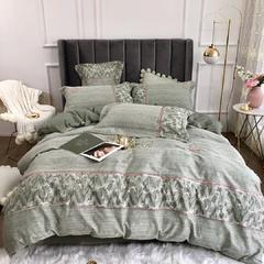 2019新款罗卡福60纯棉提加印四件套 1.8m(6英尺)床 抹茶绿