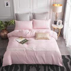 2019新款ins风天丝绒蕾丝四件套 1.5m(5英尺)床 浅粉色