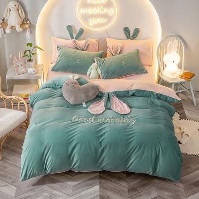 2020新款水晶绒系列四件套—早安兔 1.5m床单款 墨绿