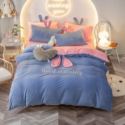 2020新款水晶绒系列四件套—早安兔 1.5m床单款 天蓝