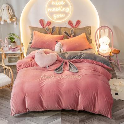 2020新款水晶绒系列四件套—早安兔 1.5m床单款 仙桃粉