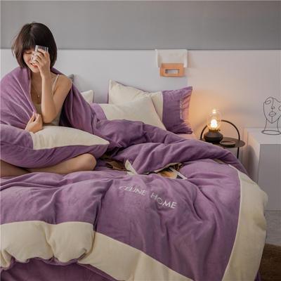 2020新款轻奢双拼牛奶绒四件套 1.8m床单款四件套 星空紫