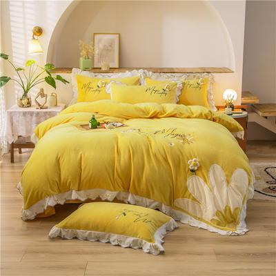 2020新款加厚牛奶绒绣花工艺活套花朵韩版花边四件套—向阳花开 1.8m床单款四件套 柠檬黄