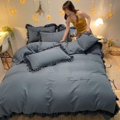 2021新款舒香棉黑色蕾丝花边刺绣四件套夏可可系列 1.5m床单款四件套 夏可可-阿蜜蓝