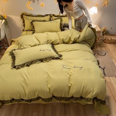 2021新款舒香棉黑色蕾丝花边刺绣四件套夏可可系列 1.5m床单款四件套 夏可可-柠檬黄