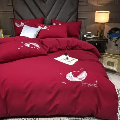 2021新款水洗真丝磨毛刺绣四件套—羽翼 1.8m床单款四件套 玛雅红