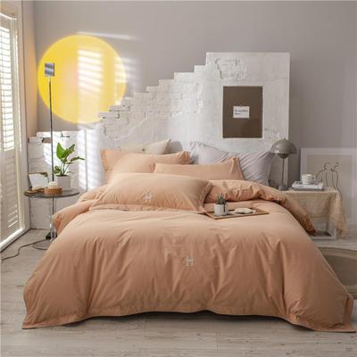 2021新款全棉水洗棉四件套 1.8m床单款四件套 橙黄