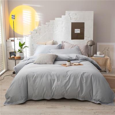 2021新款全棉水洗棉四件套 1.8m床单款四件套 灰蓝