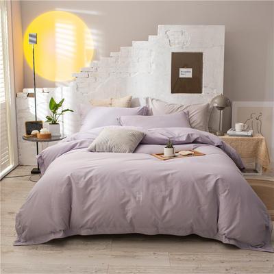 2021新款全棉水洗棉四件套 1.8m床单款四件套 香芋紫