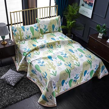 睡趣家纺 600D冰丝席凉席三件套可水洗机洗床单款