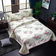 睡趣家纺 600D冰丝席凉席三件套可水洗机洗床单款 1.5m(5英尺)床 天姿国色