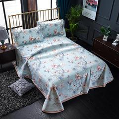 睡趣家纺 600D冰丝席凉席三件套可水洗机洗床单款 2.0m(6.6英尺)床 曼妙花影