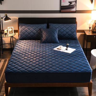 2019新款水晶絨夾棉加厚床笠 120cmx200cm 寶石藍