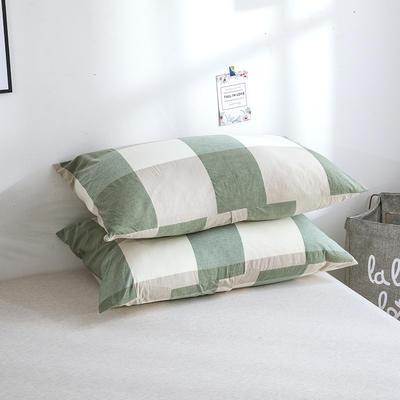 2019新款水洗棉夾棉床笠配對枕套 綠大格