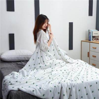 2019新款新品冰丝夏被 200X230cm 仙人掌-白