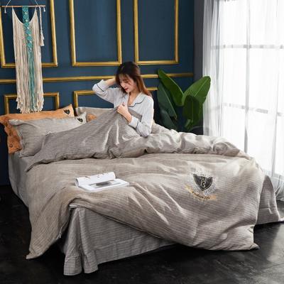 2019新款亚麻棉四件套 1.8m床200*230cm 咖啡