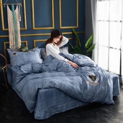 2019新款亞麻棉四件套 1.8m床200*230cm 魅力藍