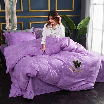 2019新款亞麻棉四件套 1.8m床200*230cm 星辰紫