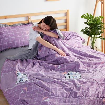 2019新款洛卡棉夏被四件套 一对枕套10元 笑脸猫(紫)
