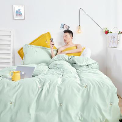 2019新款-60s吉瑞斯四件套 1.5m-1.8m床(床单款) 小蜜蜂-水绿
