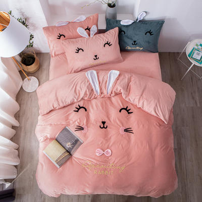 2019新款萌兔寶貝-寶寶絨四件套 1.5m床單款四件套 公主粉