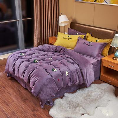 2019新款水晶绒四件套 1.8m床单款四件套 牛油果——葡萄紫