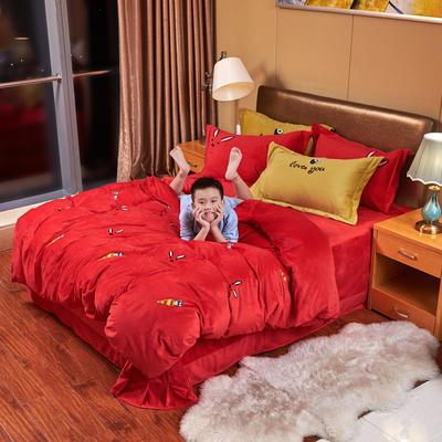 2019新款水晶绒四件套 1.8m床单款四件套 炫彩萝卜——璀璨红