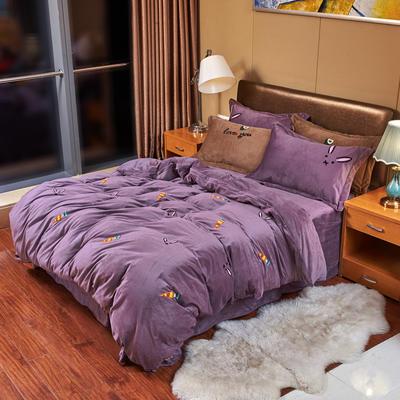 2019新款水晶绒四件套 1.8m床单款四件套 炫彩萝卜—葡萄紫