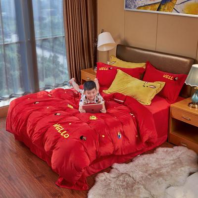 2019新款水晶绒四件套 1.8m床单款四件套 芝麻街——璀璨红