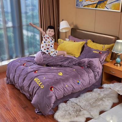 2019新款水晶绒四件套 1.8m床单款四件套 芝麻街——葡萄紫