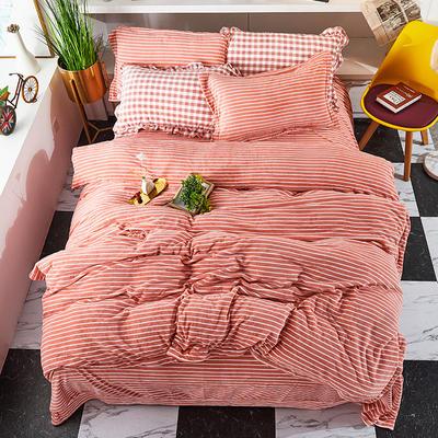 2019新款加厚牛奶绒四件套 1.8m床单款四件套 粉色-横条
