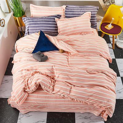 2019新款加厚牛奶绒四件套 1.8m床单款四件套 米色-横条