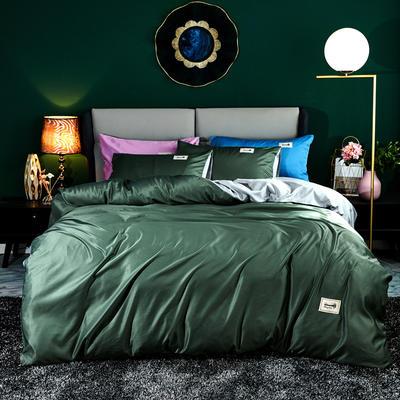 2020新款天丝棉四件套 1.8m床单款四件套 奥汀-橄榄绿&雅致灰