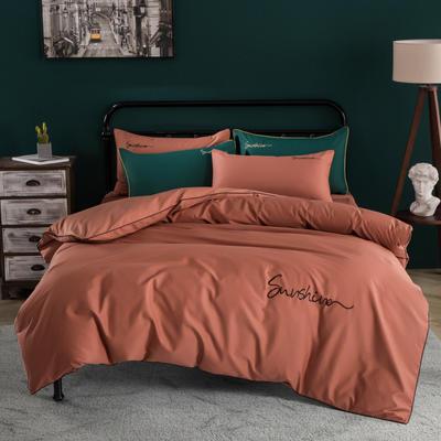 2020新款40S全棉四件套 1.8m床单款四件套 珊瑚橘
