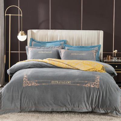 2020新款色织绒绣花系列四件套 1.8m床单款四件套 典雅灰