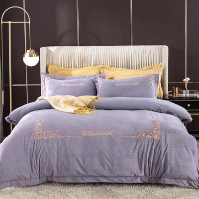 2020新款色织绒绣花系列四件套 1.8m床单款四件套 丁香紫