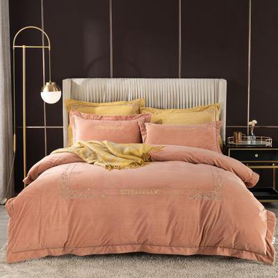 2020新款色织绒绣花系列四件套 1.8m床单款四件套 金棕