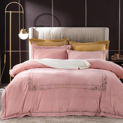 2020新款色织绒绣花系列四件套 1.8m床单款四件套 藕荷粉