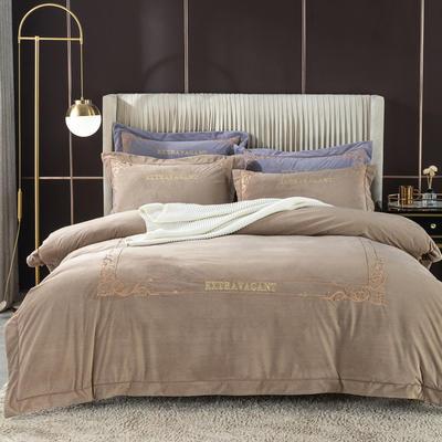 2020新款色织绒绣花系列四件套 1.8m床单款四件套 钛古驼