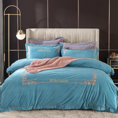 2020新款色织绒绣花系列四件套 1.8m床单款四件套 雅兰