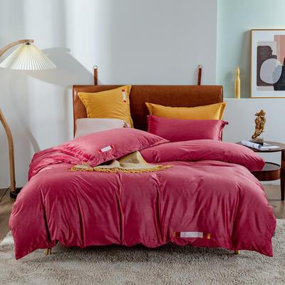 2020新款宝宝绒LOVE系列四件套 1.8m床单款四件套 紫嫣红509