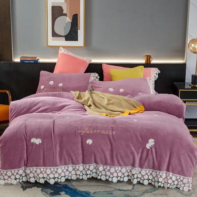 2020新款牛奶绒雏菊四件套 1.5m床单款四件套 206 木槿紫