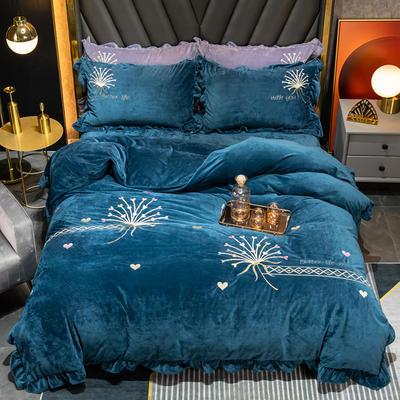2020新款婴儿绒立体彩绣四件套-欧蒂亚 1.5m床单款四件套 欧蒂亚-宝石蓝 101