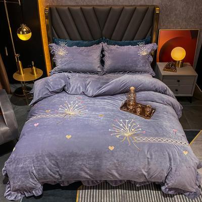 2020新款婴儿绒立体彩绣四件套-欧蒂亚 1.5m床单款四件套 欧蒂亚-魅惑紫 102